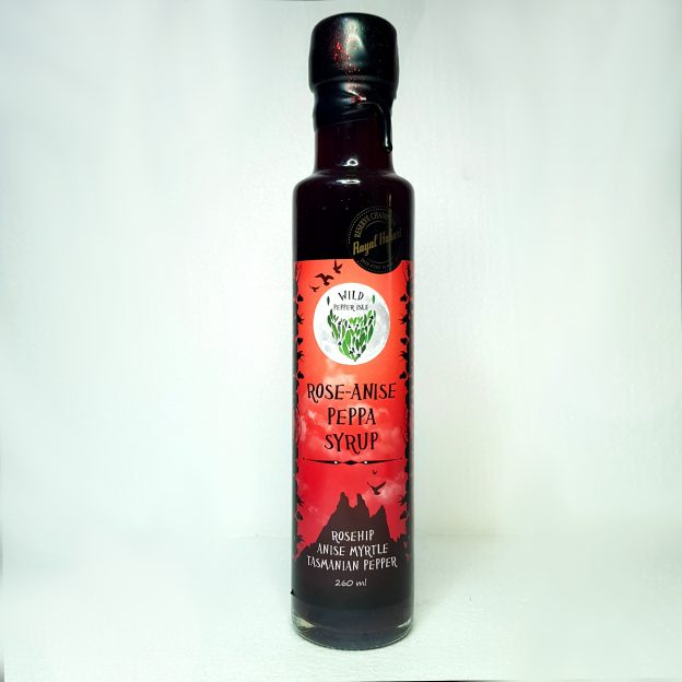 Anise Myrtle and Rosehip syrup bottle