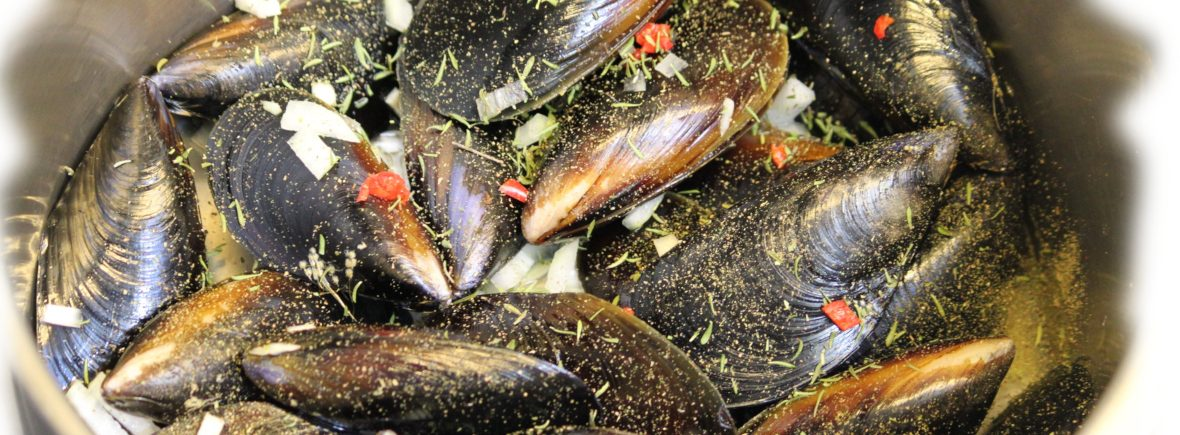 Mussels cooked in bush spices