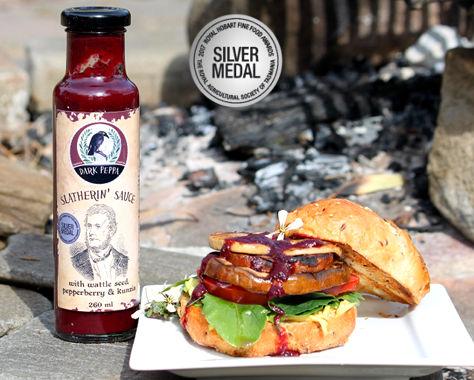 Slatherin sauce on vegan burger