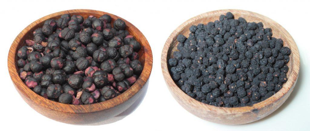 Freeze-dried alongside air-dried pepperberry