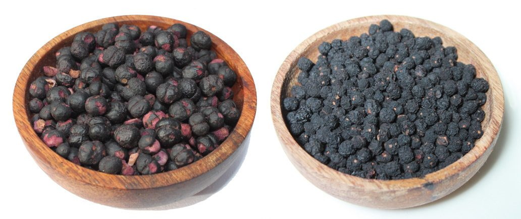 Freeze-dried alongside air-dried pepperberry