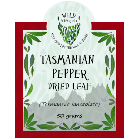 Tasmanian pepper leaf product label